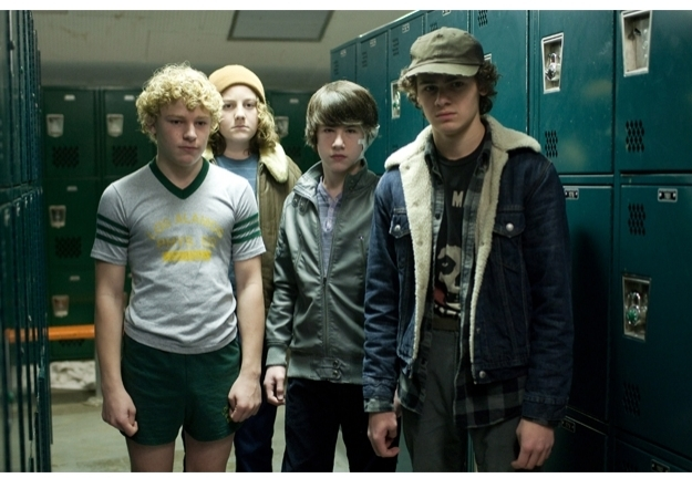 Jimmy Jax Pinchak, Nicolai Dorian, Dylan Minnette, and Brett DelBuono in Overture Films' 'Let Me In'